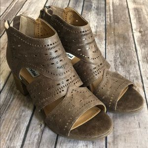 Light Taupe Not Rated Open Toed Booties